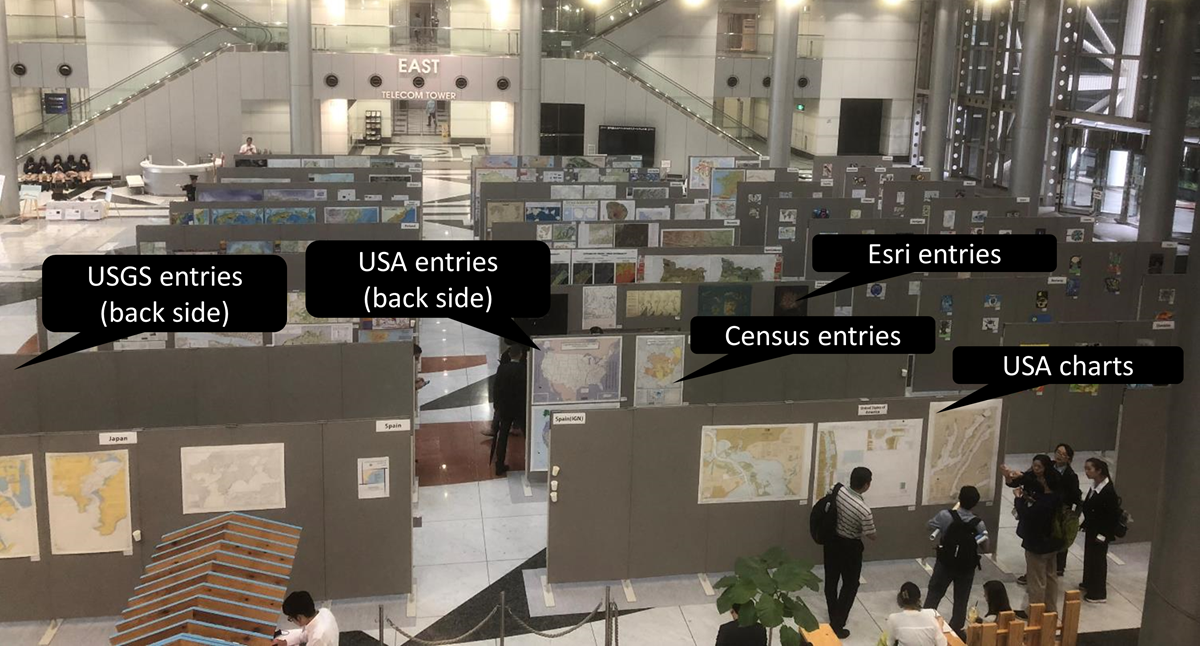 Layout of the maps and charts portion of the 2019 International Cartographic Exhibition.